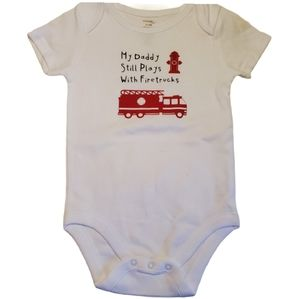Hand Crafted   Firefighter Baby Diaper Shirt